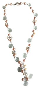 Sterling pink white pearl aqua marine drop pendant necklace