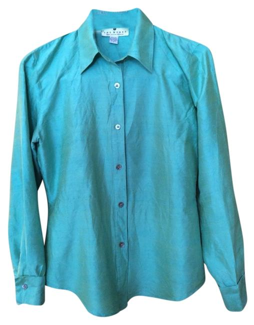 Saks Fifth Avenue Raw Silk Mother Of Pearl Buttons Color Top Turquoise