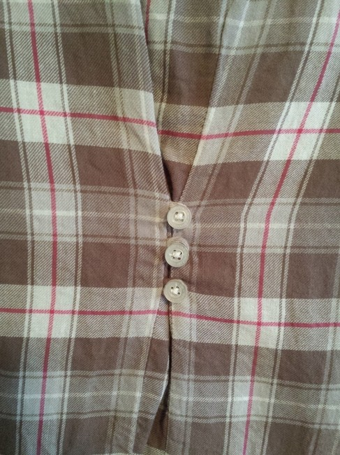 Aeropostale Flannel Button Casual Fall Button Down Shirt Brown Plaid