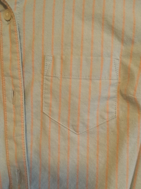 Old Navy 3/4 Sleeve Fitted Casual Button Down Shirt Blue stripe