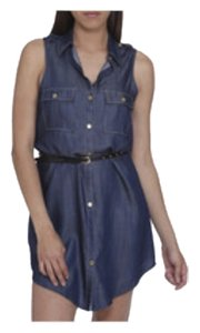Arden B. short dress Chambray Denim Shirt Blue Belt on Tradesy