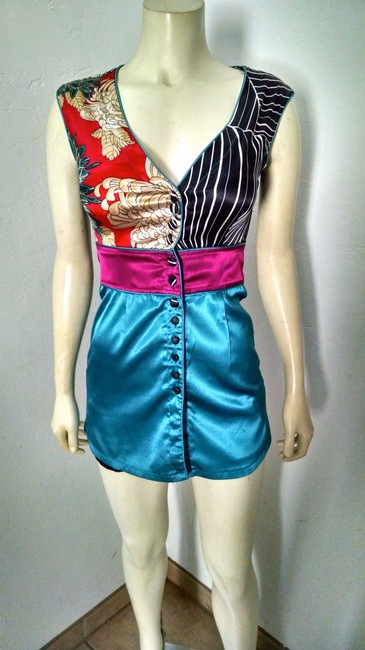 Other Dress Stretchy P1483 Button Down Shirt teal, dark pink, white, black