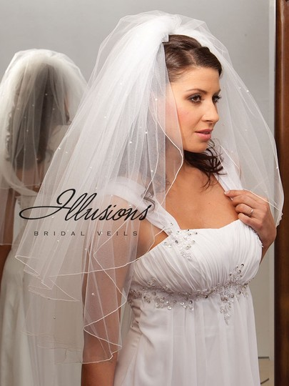 Illusions Bridal White Medium Two Layer Scattered Pearls Bridal Veil