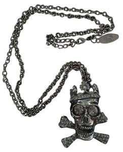 Cra Couture Jewelry Cara Couture NYC Jewelry Crystal Skull & Cross Bones Necklace