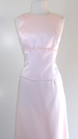 Alfred Angelo Light Pink Satin Style Casual Bridesmaid/Mob Dress Size 6 (S)