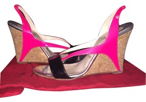 Christian Louboutin Pink, Silver And black Wedges