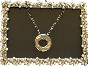 14k Gold / Sterling Silver Charm and Necklace. Made in Italy (32