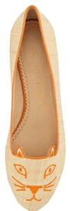 Charlotte Olympia Natural Raffia/orange Flats
