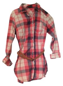 Forever 21 Plaid Long Shirt Belted Button Down Shirt Red