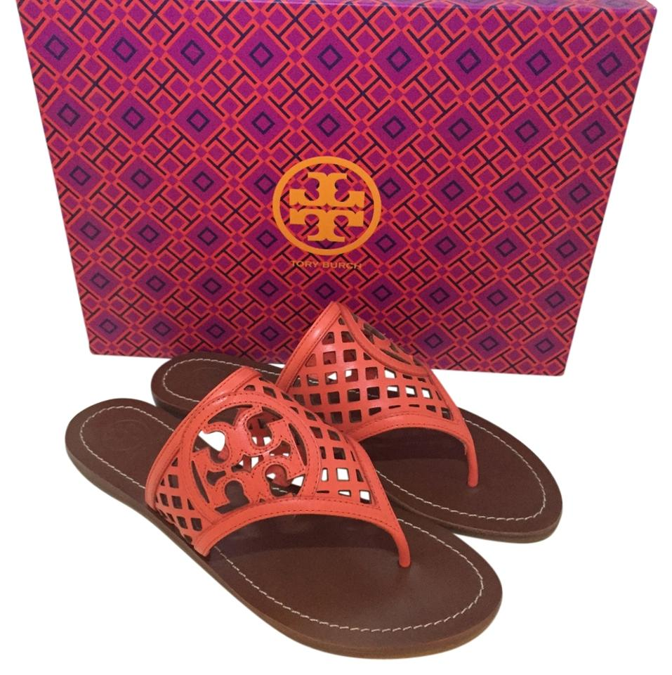 Tory Thatched Burch Poppy Coral Thatched Tory Lattice Logo Sandals 6f1103