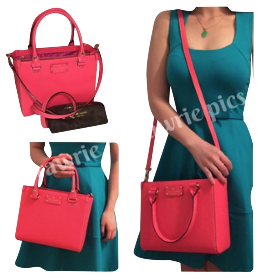 Kate Spade New Wellesley Logo Quinn Small Hot Rose Hotrose Leather Square Structured Zip Crossbody Shoulder