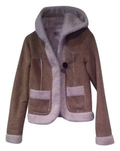 Rubbish Sherling Faux Leather Look Sheepskin Look Suede Look Faux Suede Polyester Fleec Fleece Lined Large Button One Button Tan With Cream Lining Jacket