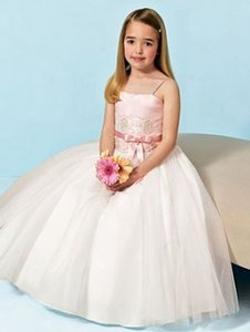Alfred Angelo Pink / Ivory Flower Girl Dress 6409