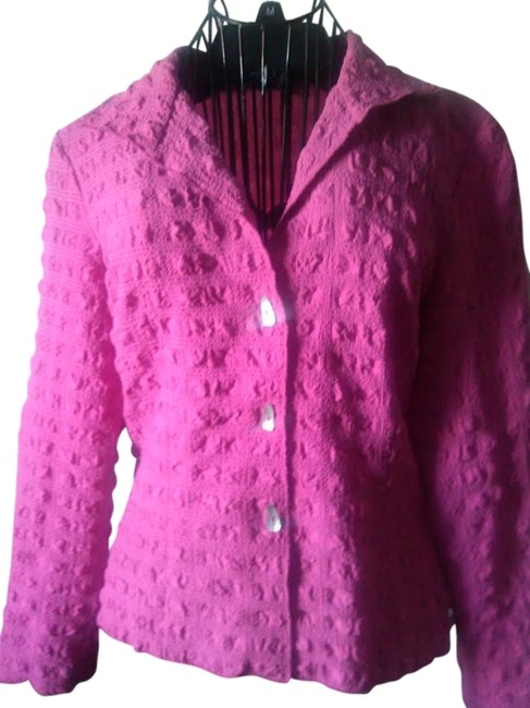 Vintage 80s 1980s Magenta Fuschia Textured Classic 10 Retro Poly Polyester Career Work Preppy Ladies Timeless Fine Top pink