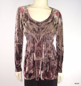 One World Floral Velvet Peasant Blouse Empire Waist Tunic