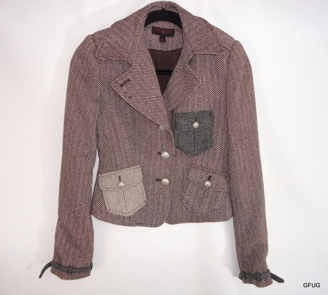 Other Raw Brown Ivory Wool Chevron Print Blazer Jacket Patchwork Pockets Wings