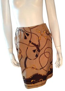 Talbots Horsebit Skirt Beige, Gold, Brown