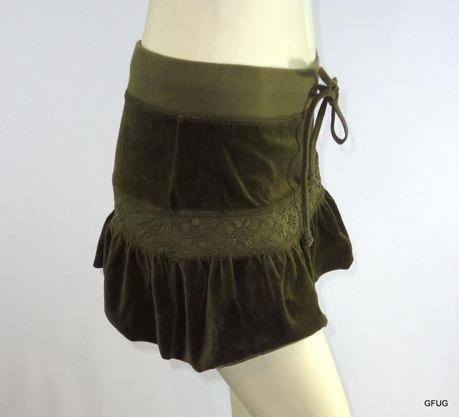 Juicy Couture Ps Olive Velour Floral Lace Ruffled Mini Drawstring Mini Skirt Green