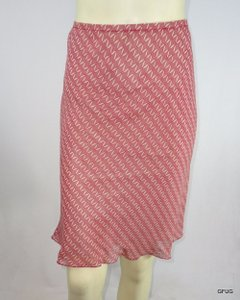 Max Studio Beige Silk Geometric Print Flutter Ruffled Hem Skirt Red