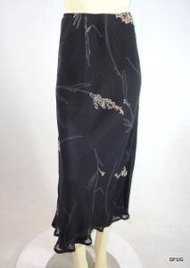 Lapis Cream Nature Print Rayon Maxi Skirt Black