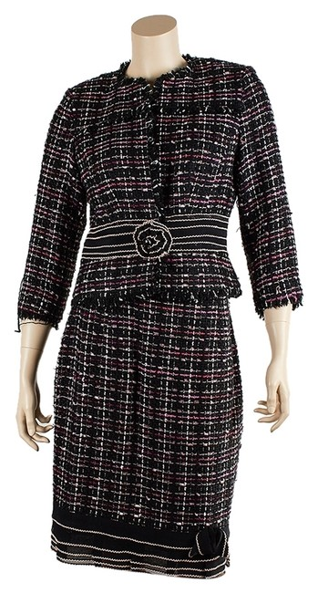 Item - Black/Pink & Polyester (44083) Skirt Suit Size 4 (S)