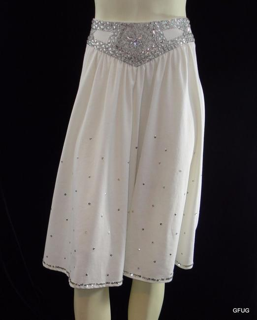 Miss Me Sweet Viscose Knit Silver Beaded Sequined Gypsy Fiesta Skirt White