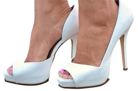 Zara Pumps Stiletto Heels Matte White Platforms