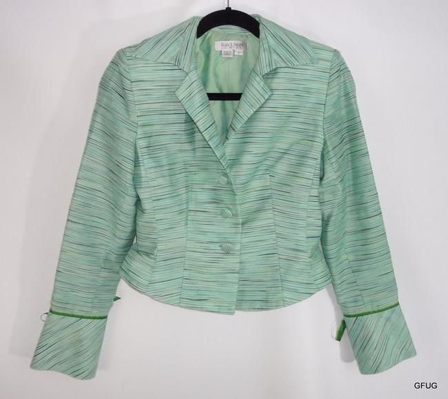 Kay Unger Kay Unger Ny Blue Green Textured Striped Rayon Blend Blazer Jacket