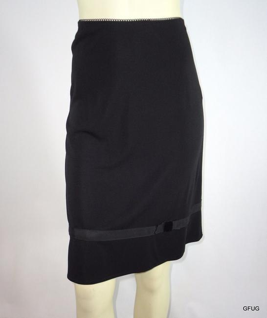 Cynthia Steffe Knit Stretch Straight Ribbon Bow Hem Trim Skirt Black
