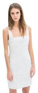 Zara White Fitted White Open Back Open Back Mini Dress
