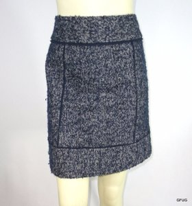 Halogen White Speckled Tweed Pencil Straight Fray Trim Skirt Blue