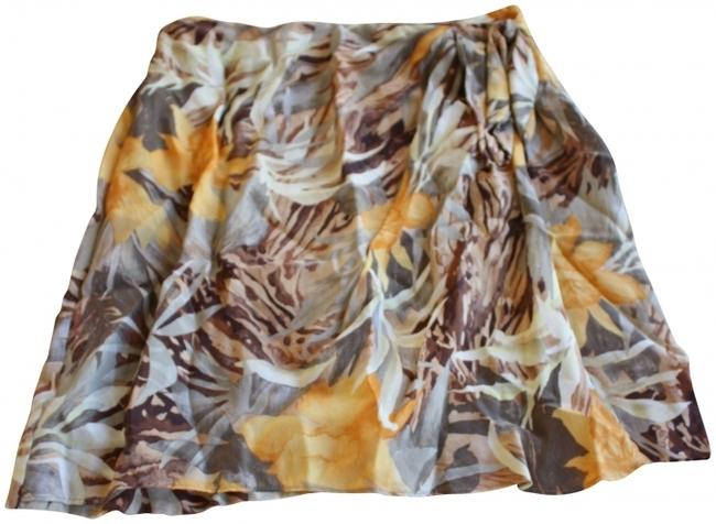 Cache Silk Tie Floral Mini Skirt Multi