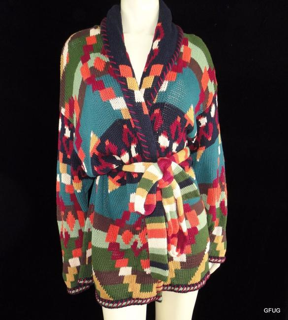 Other Unique Intl Ramie Cotton Indian Shawl Collar Belted Sweater Coat Multi-Color Jacket