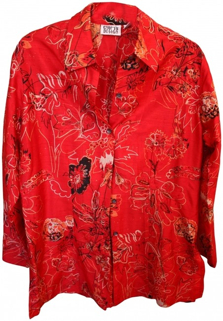 Chico's Embroidered Beaded Metallic Silk Button Down Shirt Red