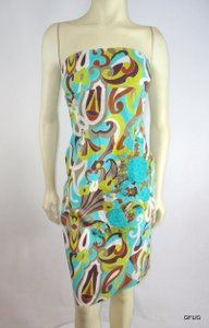Ruthie Davis Ruth Anthropologie Aqua Blue Paisley Floral Embroidered Strapless Tube Dress