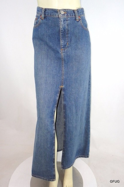 Polo Ralph Lauren Jeans Distressed Denim Jean Slit Americana Skirt Blue