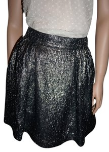 Kate Spade Metallic Flowy Feminine Party Mini Skirt silver