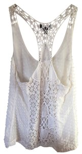 bebe Crochet Flowy Racer-back Top cream