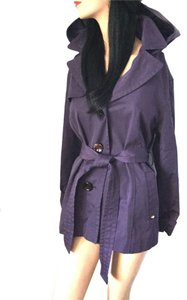 Ellen Tracy Trench Rain Fall Winter Travel Vacation Tropical Designer All Weather Day Night Rain Coat Rain Coat Rain Coat Purple * Jacket