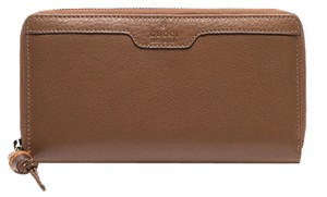 Gucci Gucci Hip Bamboo Brown Deer Leather Zip Around Wallet 339178