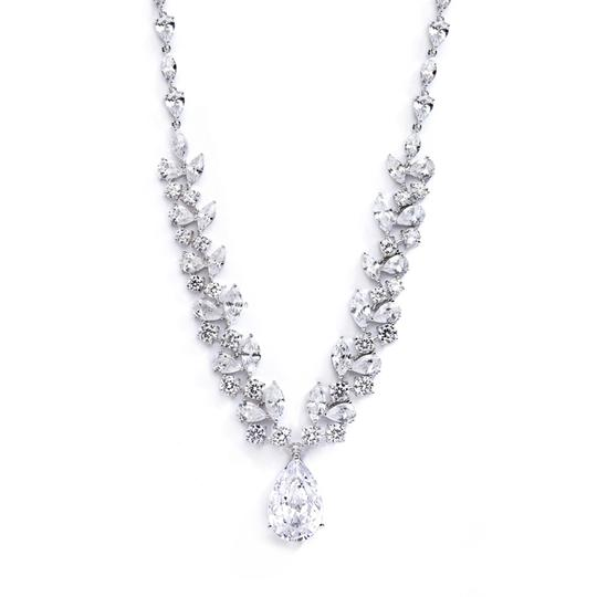 Silver/Rhodium Hollywood Glamour Pear Drop Crystal Necklace