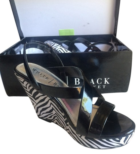 White House | Black Market Patent Leather Zebra And Black, white, silver Wedges