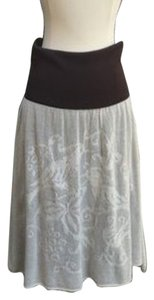 Anthropologie Bird Motif Doves Skirt Brown and cream