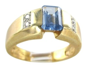 14K SOLID YELLOW GOLD RING 5.7 GRAM BLUE TOPAZ 4 GENUINE DIAMONDS NOT SCRAP BAND