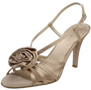 Nine West Jasmina Slingback Rose Floral Flower Caged Vamp Cage Formal Dressy Satin Satin Rose Over Toe Women's Size 9.5 Size Gold Sandals