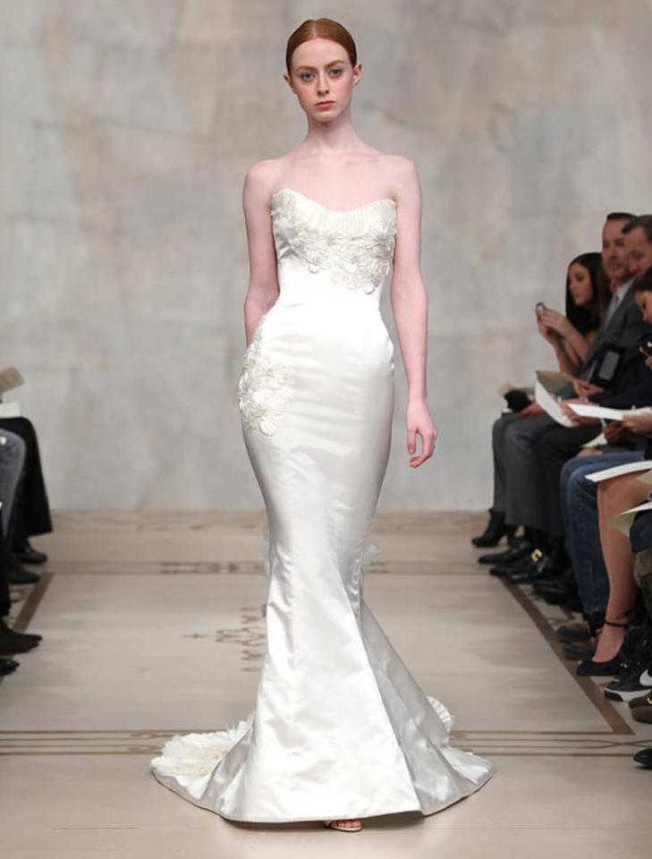 Reem Acra Light Ivory Silk Satin with Flower Embellishments Crystals ...