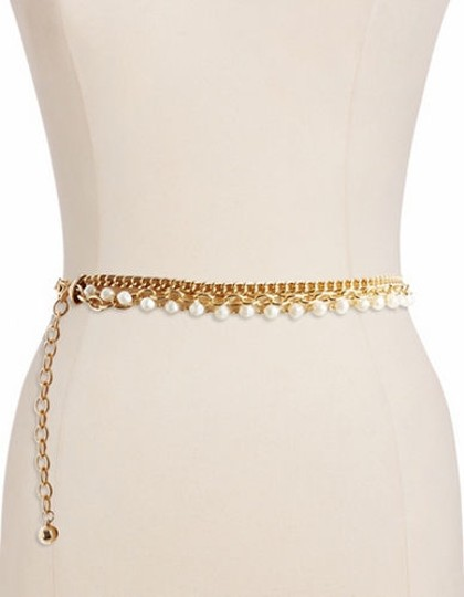 Ralph Lauren Gold Women'sThree Row Chain and Faux Pearl Belt