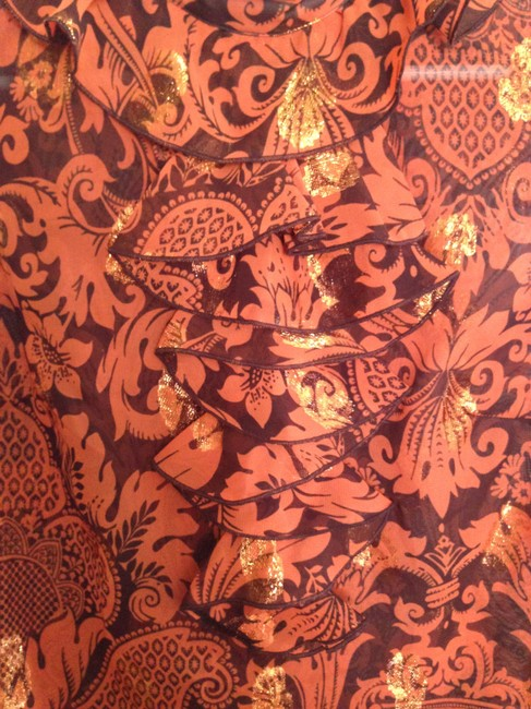 Anna Sui for Target Top Burnt Orange with hints of gold detail