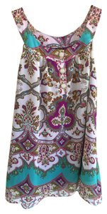 Nicole Miller Ethnic Patterened Top Multi-colored, purple, teal