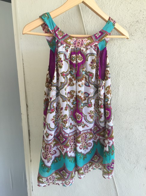 Nicole Miller Ethnic Patterened Tribal Top Multi-colored, purple, teal